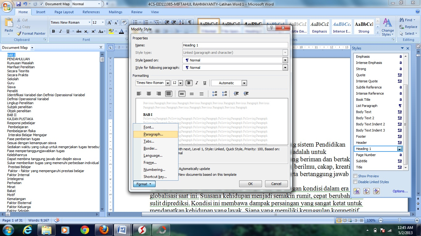 how to clear dash indents in word document